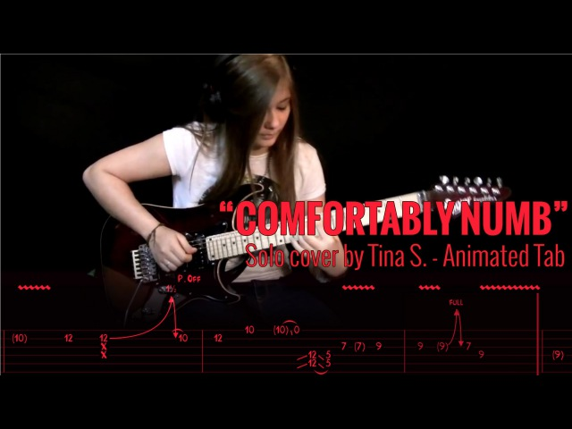 PINK FLOYD COMFORTABLY NUMB SOLO COVER BY TINA S Animated Tab