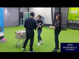 트와이스 쯔위,정연 시구연습영상1 도곡야구아카데미