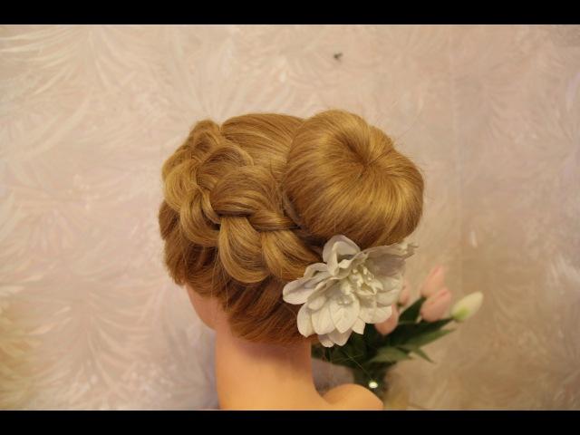 Причёска пучок с бубликом   Hairstyle beam with a bagel