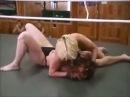 Beautiful Russian women's bikini wrestling match choking female wrestling  headlock  bodyscissors