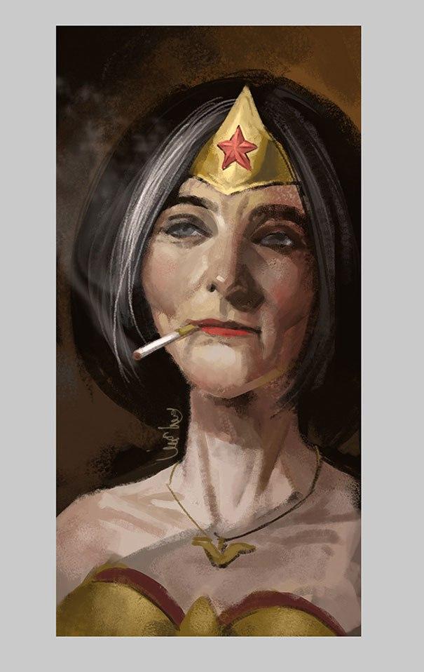tCyb bYmtA - Художник представил самых популярных супергероев на пенсии