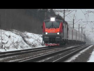 """Электровоз ЭП20-042 с фирменным поездом """"Полонез"""""""
