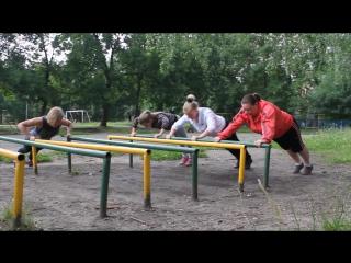 тренировка на свежем воздухе с Леной, Мариной и Машей
