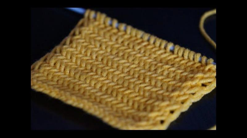 Вязание спицами узора Елочка для начинающих Herringbone pattern knitting for beginners