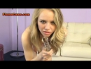 Sexy young blonde teen with a tight hairy pussy fucking a glass dildo on webcam.