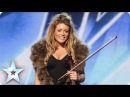 Posh violinist Lettice Rowbotham gives the Judges something new Britain's Got Talent 2014