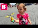 Летающий миньон распаковка игрушки запускаем Unboxing flying Minion girl run in on
