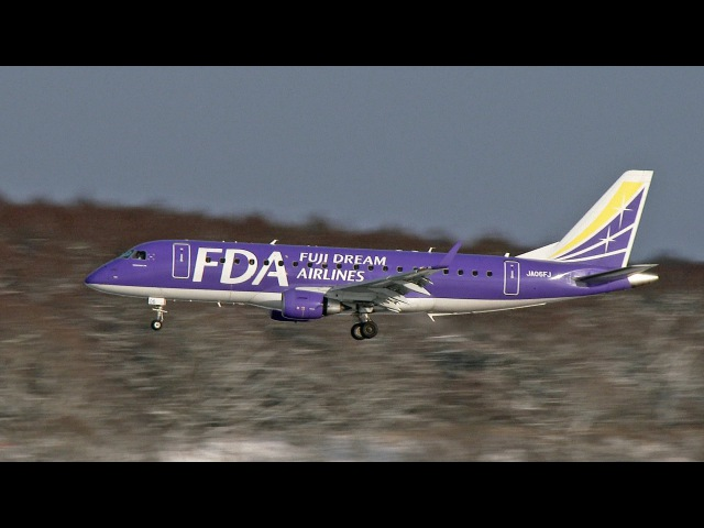 [4K] [新千歳空港] Snow and jetliner! FDA - Fuji Dream Airlines Embraer 175STD [JA06FJ] [SONY FDR-AX1]