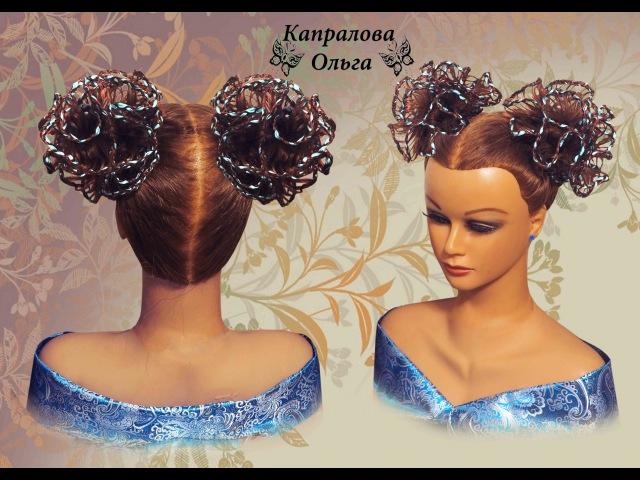 Прическа на длинные волосы, на средние волосы Ажурный бант из волос hair bow Frisur Bogen K...