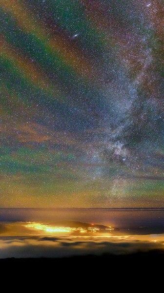 Млечный Путь и собственное свечение атмосферы над островом Пику