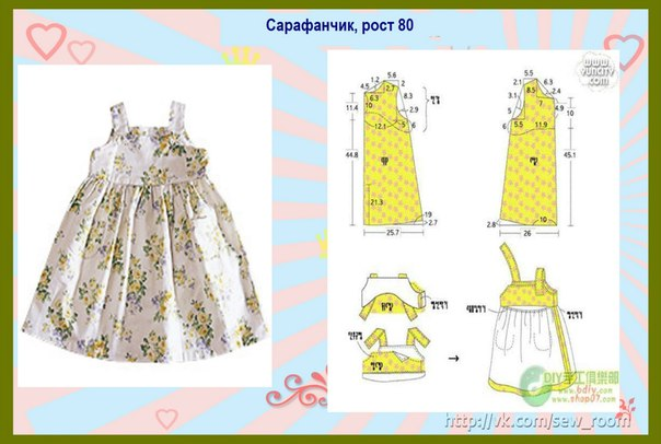 Выкройка платья девочки рост 110 см
