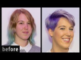 Long to extreme short Pixie Undercut Hair Makeover & dying purple & grey by Alves & Bechtholdt