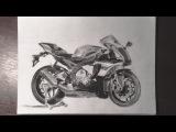 Yamaha R1M - Charcoal & Graphite Drawing