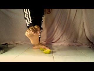 Crushing Orange With My Bare Feet (Male Feet)