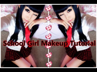 Back to School - Anime School Girl Makeup Tutorial   Uniform and Hairstyle