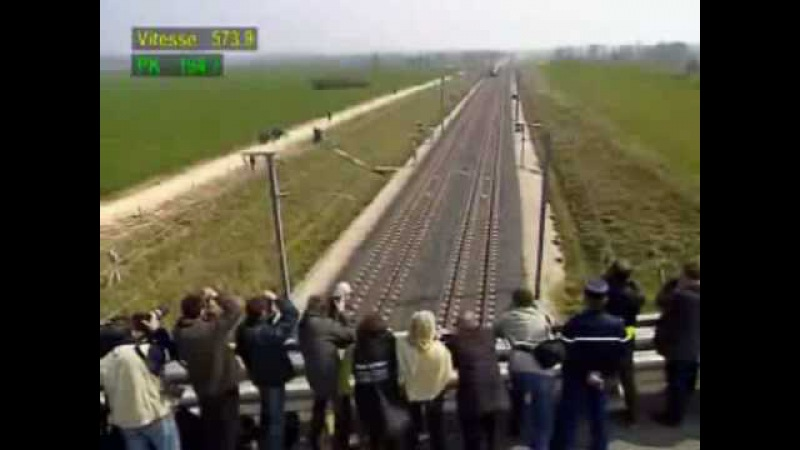 Fastest Train 574 kmh - watch the top left speed