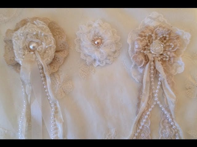 How to make a Shabby chic Lace rosette flower - WOC design team project