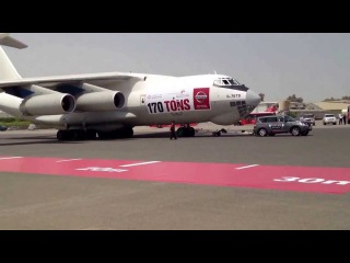 World Guinness record achievement by Nissan patrol pulling 170 ton cargo plane of RUS Aviation