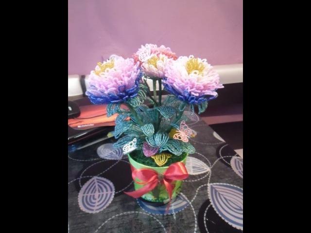 Хризантема из бисера урок № 3