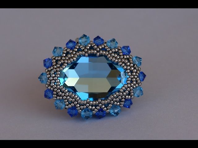 How to bezel a 30x22mm Swarovski cabochon - Free beading tutorial by Sidonia's handmade jewelry