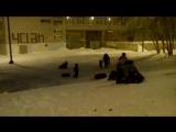 Снежный завал и катание на тюбинге