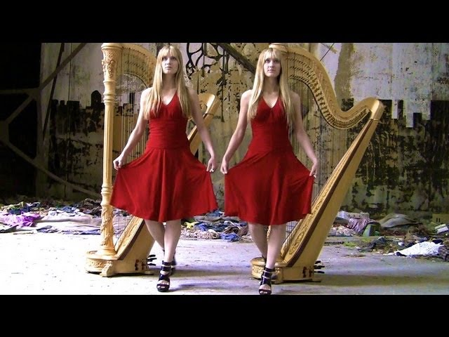 BAD ROMANCE (Lady Gaga) Harp Twins - Camille and Kennerly » Freewka.com - Смотреть онлайн в хорощем качестве