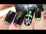 Neon Studded Flower Nail Art Tutorial