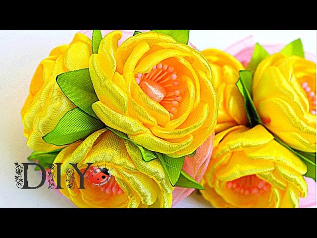 Резинки Summer flowers | Цветы из Ленты | KANZASHI | DIY