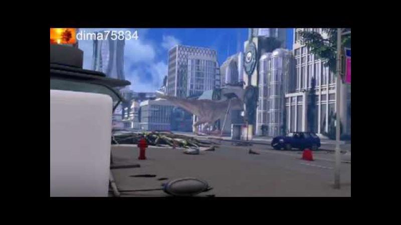 Нападение динозавров на город 5D Кинотеатр! The attack shocked the city Dinosaur 2015