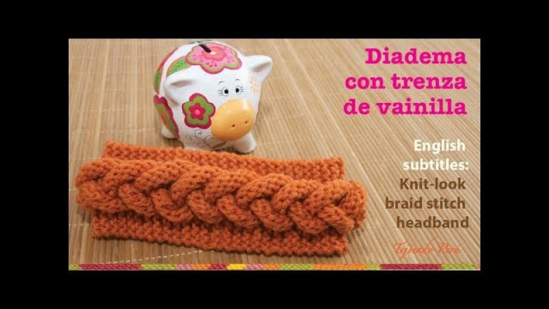 Vincha o diadema con trenza en relieve en 2 agujas / English subtitles