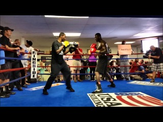 Deontay Wilder works out during media day
