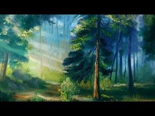 Полный урок живописи маслом Утренний лес