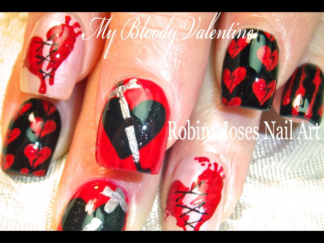 My Bloody Valentine's Day Nail Art Design | Anti Valentine Nails