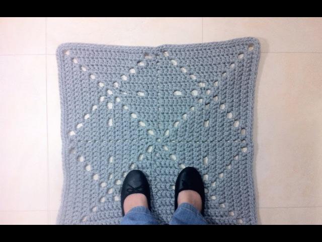 Как связать прямоугольный коврик из трикотажной пряжи / How to Crochet a T-shirt Yarn Square Rug (DIY Tutorial)