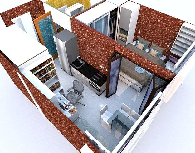 Любительский проект студии 28,5 м с разворотом кухни и спальней на ее месте.