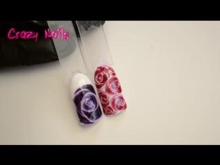 Рисуем розы по мокрому - маникюр гель лак - уроки дизайна.