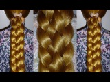 Плетение косичек на средние/длинные волосы.Ажурные косы из 6 прядей.Быстрая причёска на каждый день