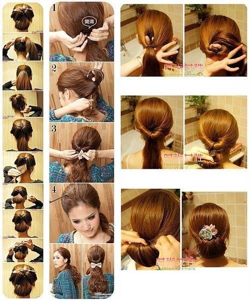 Легкие прически для длинных волос своими руками фото