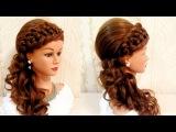 Свадебная прическа с плетнием.  Braided wedding hairstyle for long hair