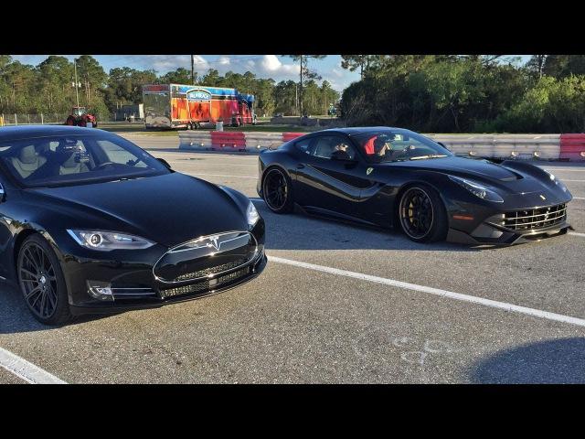 Tesla Model S P85D vs Ferrari F12 1/4 Mile Drag Racing