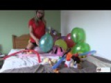 Looner girl Chloe Toy stripping on the bed playing with balloons