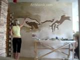Роспись стены за 4 минуты. - фреска, живопись, дизайн интерьера, комнаты, кварти