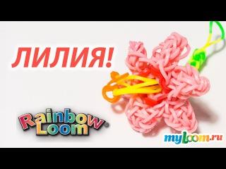 ЦВЕТОК Лилия из Rainbow Loom Bands. Урок 174 | Flower Rainbow Loom
