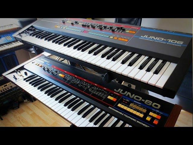 Roland Juno-60 vs. Juno-106 Vintage Analog Synthesizer battle
