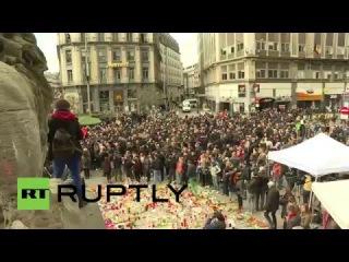 """Бельгия: """"Хулиганы"""" аварии бдение для жертв Брюссельской нападений."""