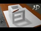 3д рисунок на бумаге - каменный куб (анаморфная иллюзия)