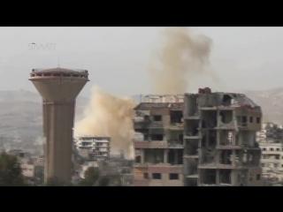 Сирия.Ми-25 ВВС САР нанёс бомбовый удар по позициям боевиков в Дарайе,Дамаск..