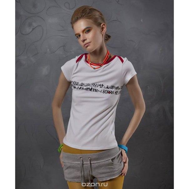 Женская. спортивная модель с фигурной горловиной. 001-211 Футболка, BORЯN