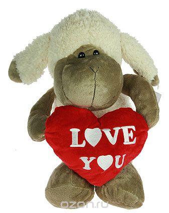 """Игрушка мягкая """"влюбленная овечка"""", цвет: коричневый, белый, высота 30 см, Win Max"""