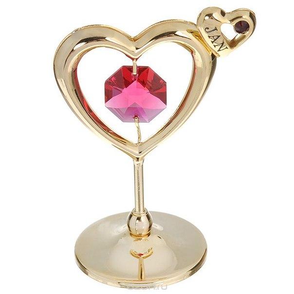 """Держатель для визиток """"сердечко"""", цвет: золотистый, розовый. 67537, Crystocraft"""